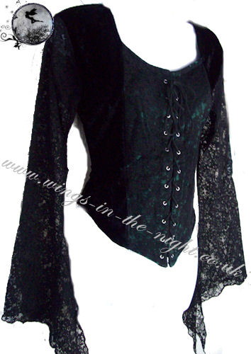 Ladies Gothic Clothing Black Lace And Velvet Top
